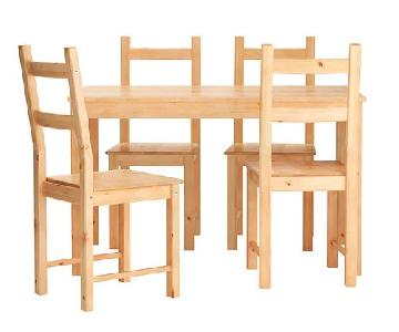 Ikea Ingo Natural Pinewood Dining Table w/ 4 Chairs