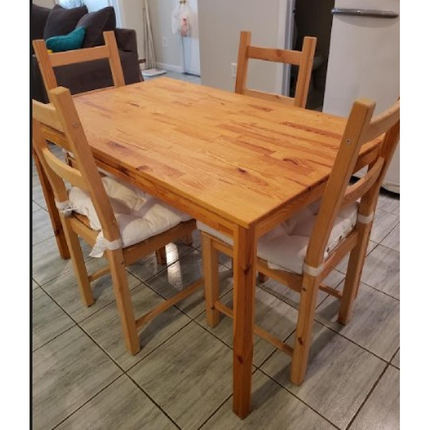 Ikea Ingo Natural Pinewood Dining Table w/ 4 Chairs - image-1