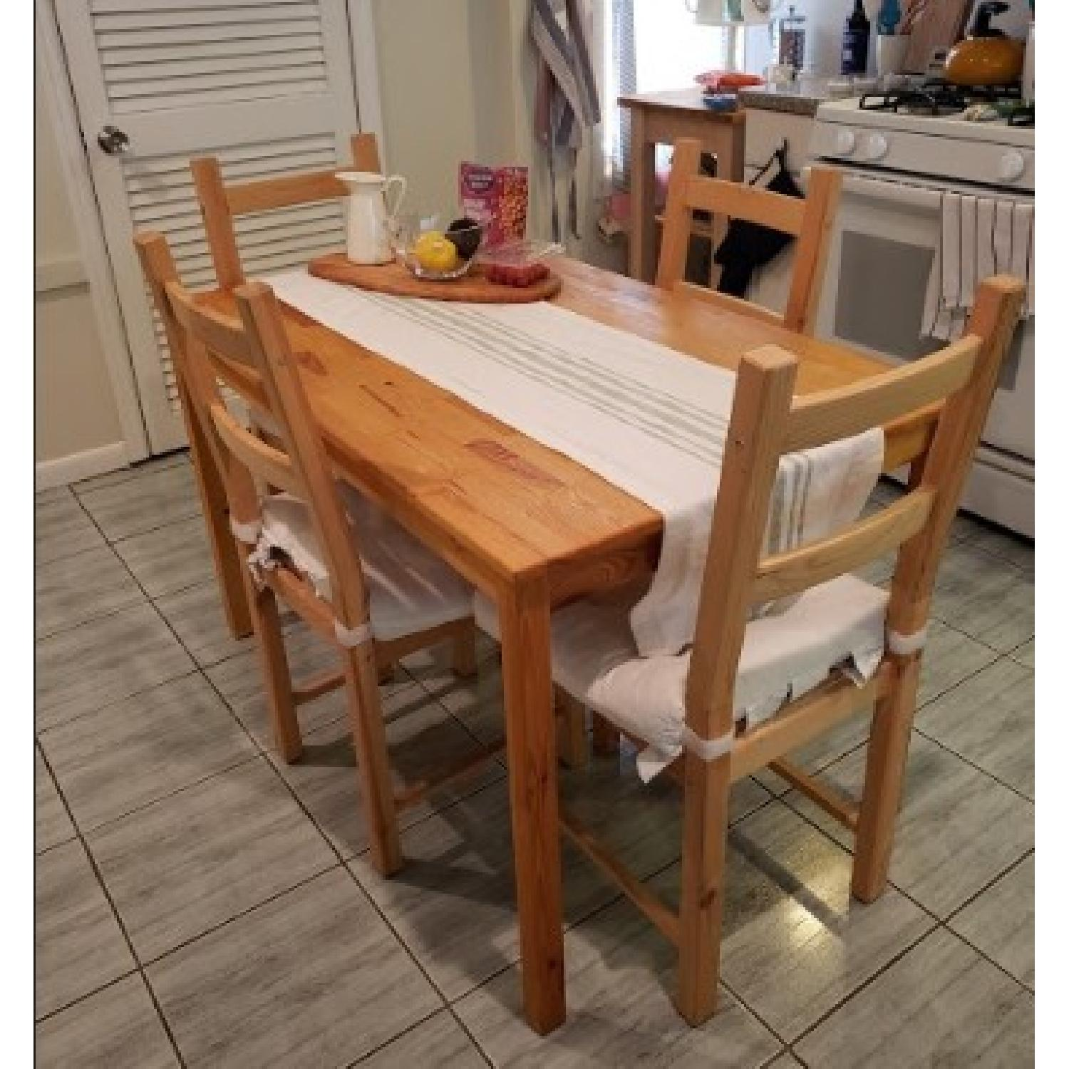 Ikea Ingo Natural Pinewood Dining Table w/ 4 Chairs - image-2