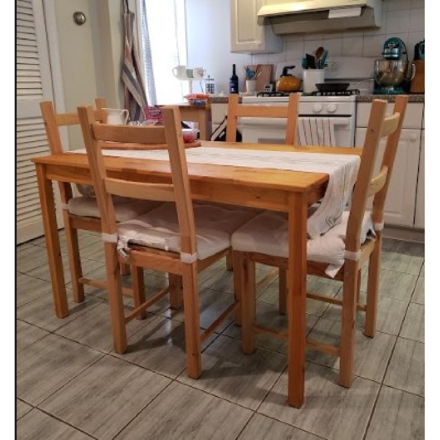 Ikea Ingo Natural Pinewood Dining Table w/ 4 Chairs - image-3