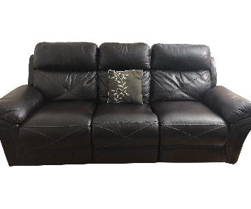 Bob's Brown Leather Power Reclining Sofa