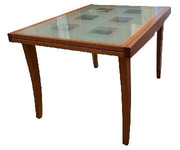 Glass Extendable Dining Table w/ Wood Legs