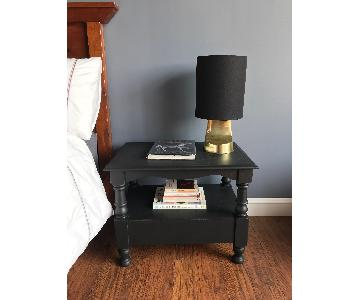 Vintage Wood Black Occasional Tables/Nightstands