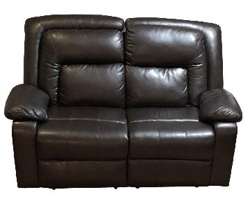 Motion Brown Bonded Leather Reclining Loveseat