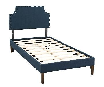 Twin Upholstered Fabric Bed in Azure