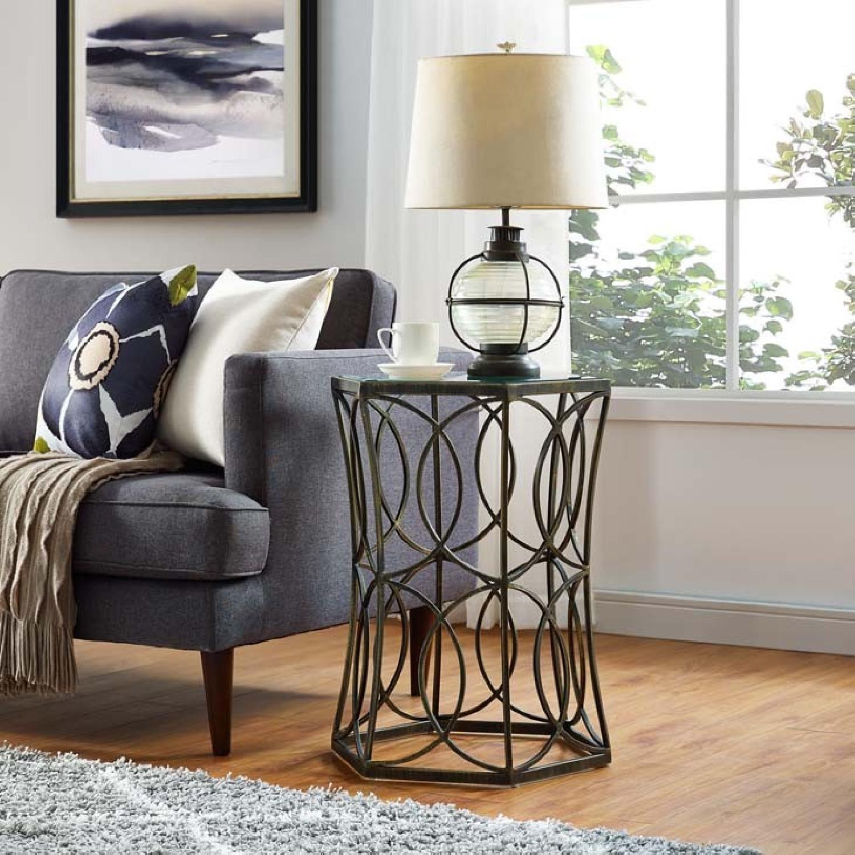 Brown Metal & Glass Top End Table - image-1