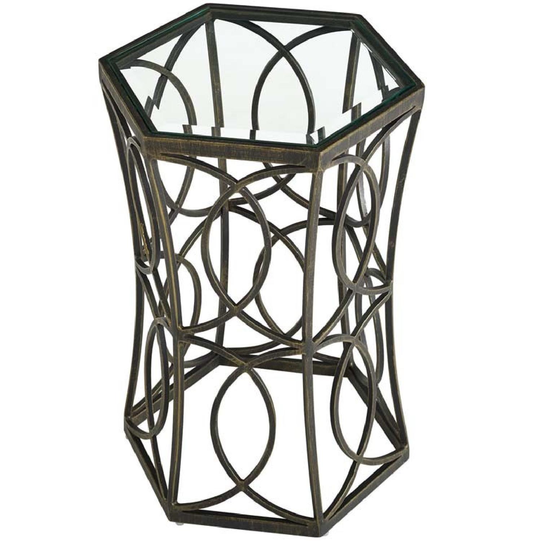 Brown Metal & Glass Top End Table - image-0