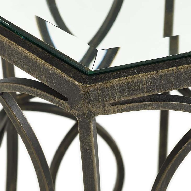 Brown Metal & Glass Top End Table - image-2