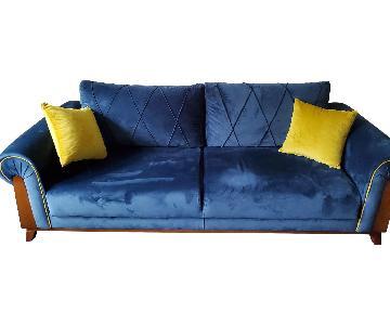 Perla Furniture London Sleeper Sofa in Blue Velvet