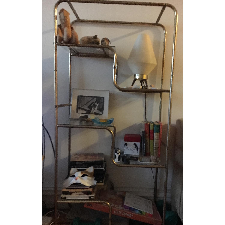 Vintage Gold Metal & Glass Shelf - image-1