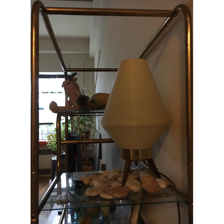 Vintage Gold Metal & Glass Shelf - image-2