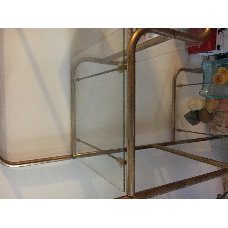 Vintage Gold Metal & Glass Shelf - image-3