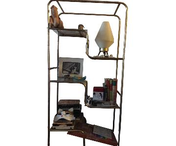 Vintage Gold Metal & Glass Shelf