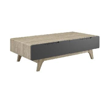 Walnut/Grey Coffee Table w/ Storage