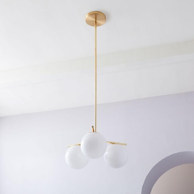 West Elm Brass/Milk Glass Sphere/Stem Convertible Flushmount - image-2
