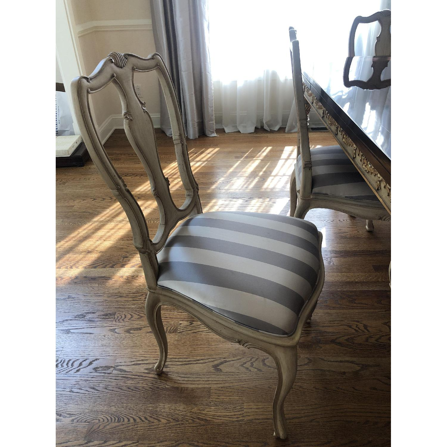Vintage Striped Silk Upholstered Dining Chair - image-1