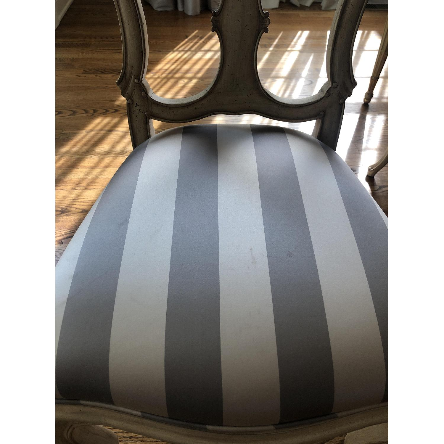 Vintage Striped Silk Upholstered Dining Chair - image-2