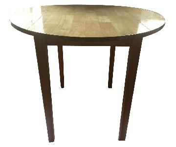 Round Wood Drop-Leaf Dining Table