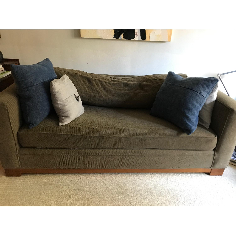Crate & Barrel Brown Fabric Sofa - image-1