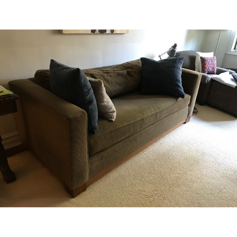 Crate & Barrel Brown Fabric Sofa - image-3