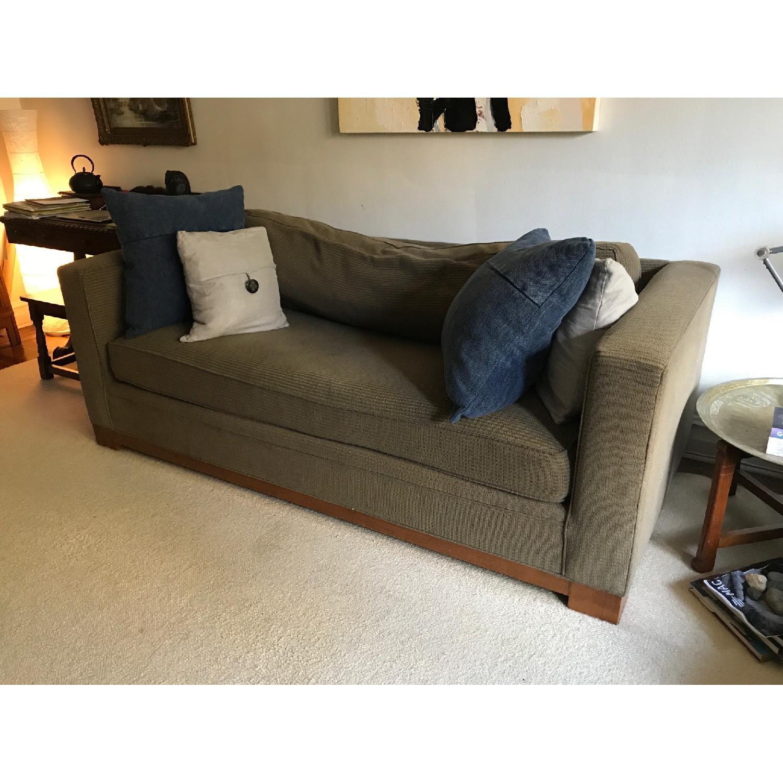 Crate & Barrel Brown Fabric Sofa - image-4