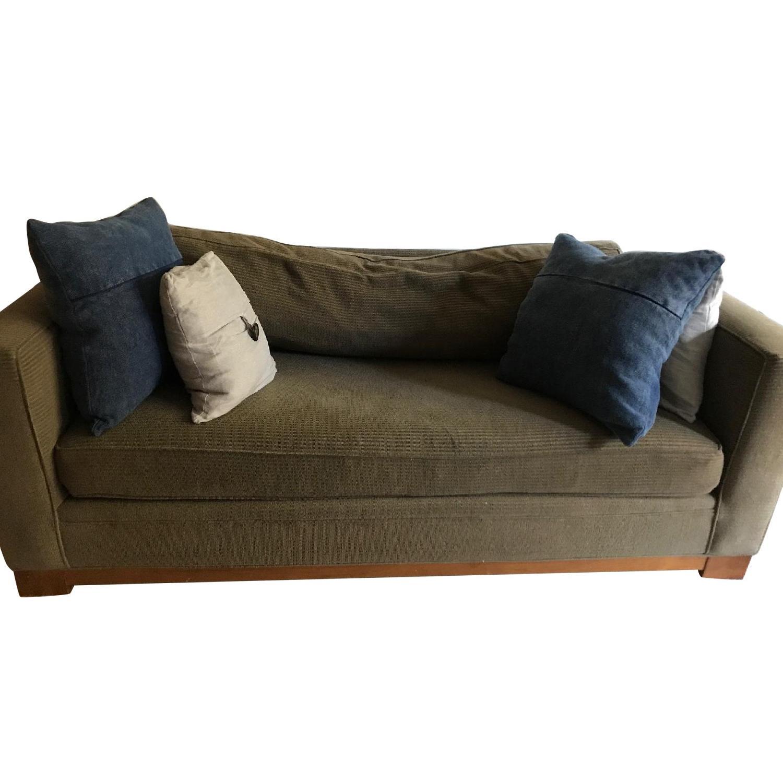 Crate & Barrel Brown Fabric Sofa - image-0