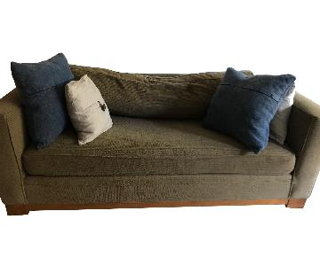 Crate & Barrel Brown Fabric Sofa