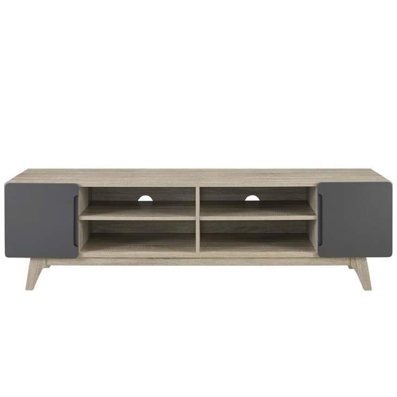 Walnut/Grey TV Stand w/ Storage - image-1