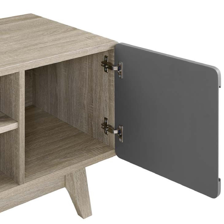 Walnut/Grey TV Stand w/ Storage - image-2