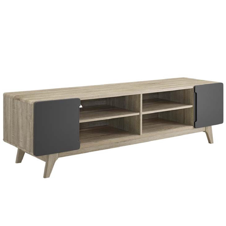 Walnut/Grey TV Stand w/ Storage - image-0