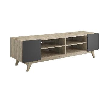 Walnut/Grey TV Stand w/ Storage