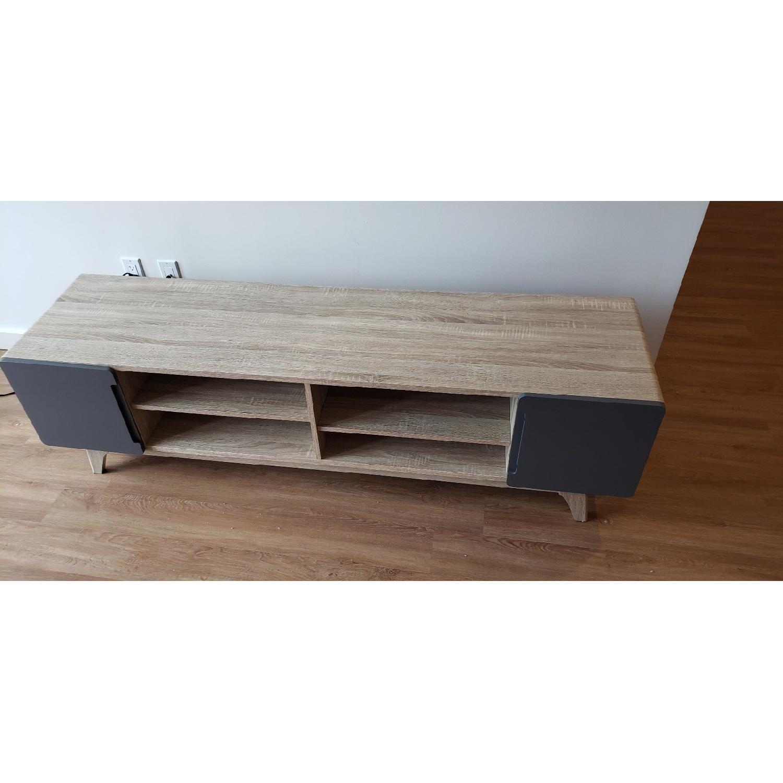 Walnut/Grey TV Stand w/ Storage - image-5