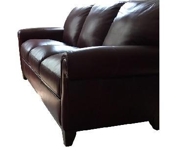 Raymour & Flanigan Burgundy Leather Sofa