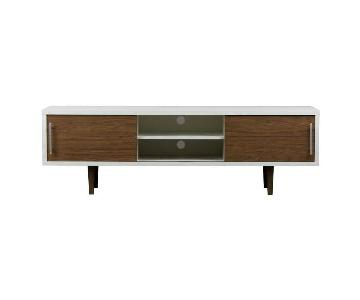 Baxton Studio Mid-Century Modern TV Console in Walnut/White