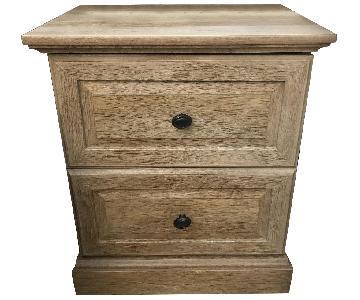 Wood 2-Drawer Nightstand