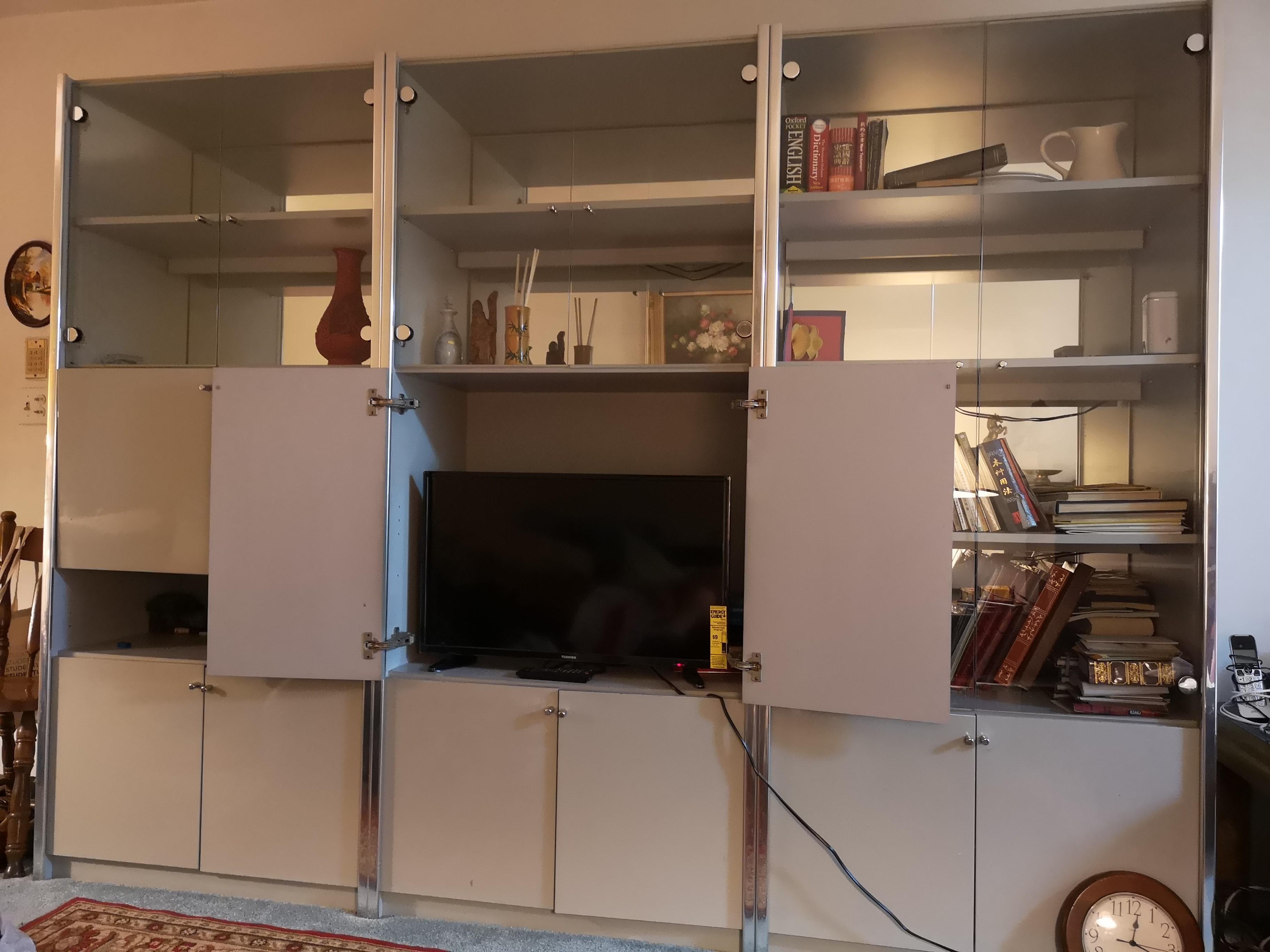 TV Wall Unit w/ Glass Doors
