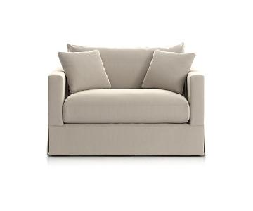 Crate & Barrel Willow Modern Slipcover Chair and a Half