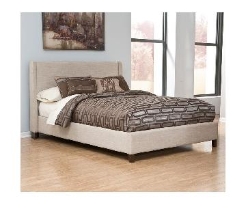 Ashley Light Beige Upholstered Queen Bed
