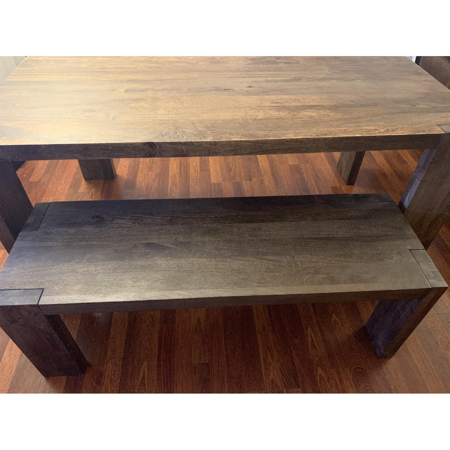 Crate & Barrel Big Sur Table w/ 1 Bench + 2 Leather Chairs-0