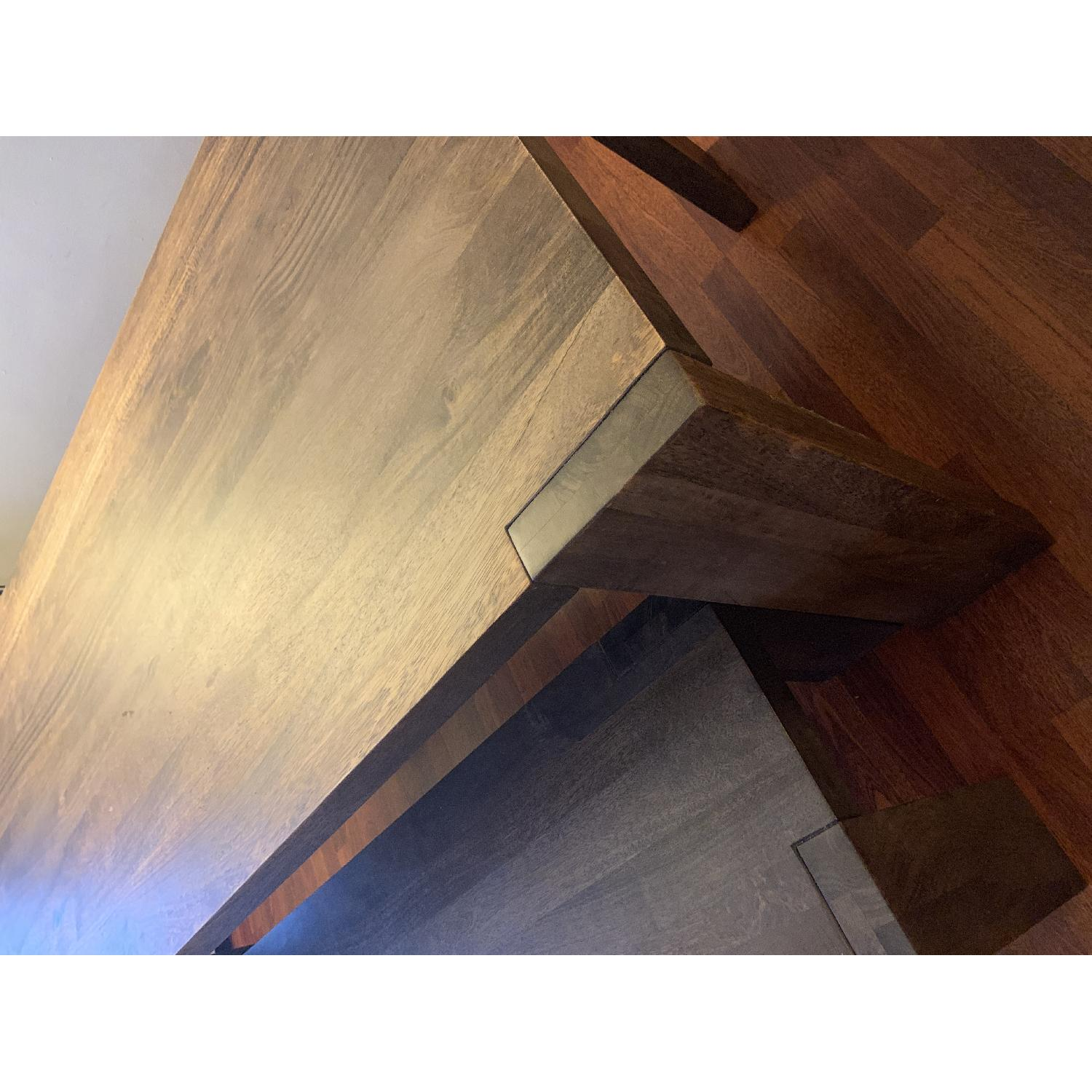 Crate & Barrel Big Sur Table w/ 1 Bench + 2 Leather Chairs-1