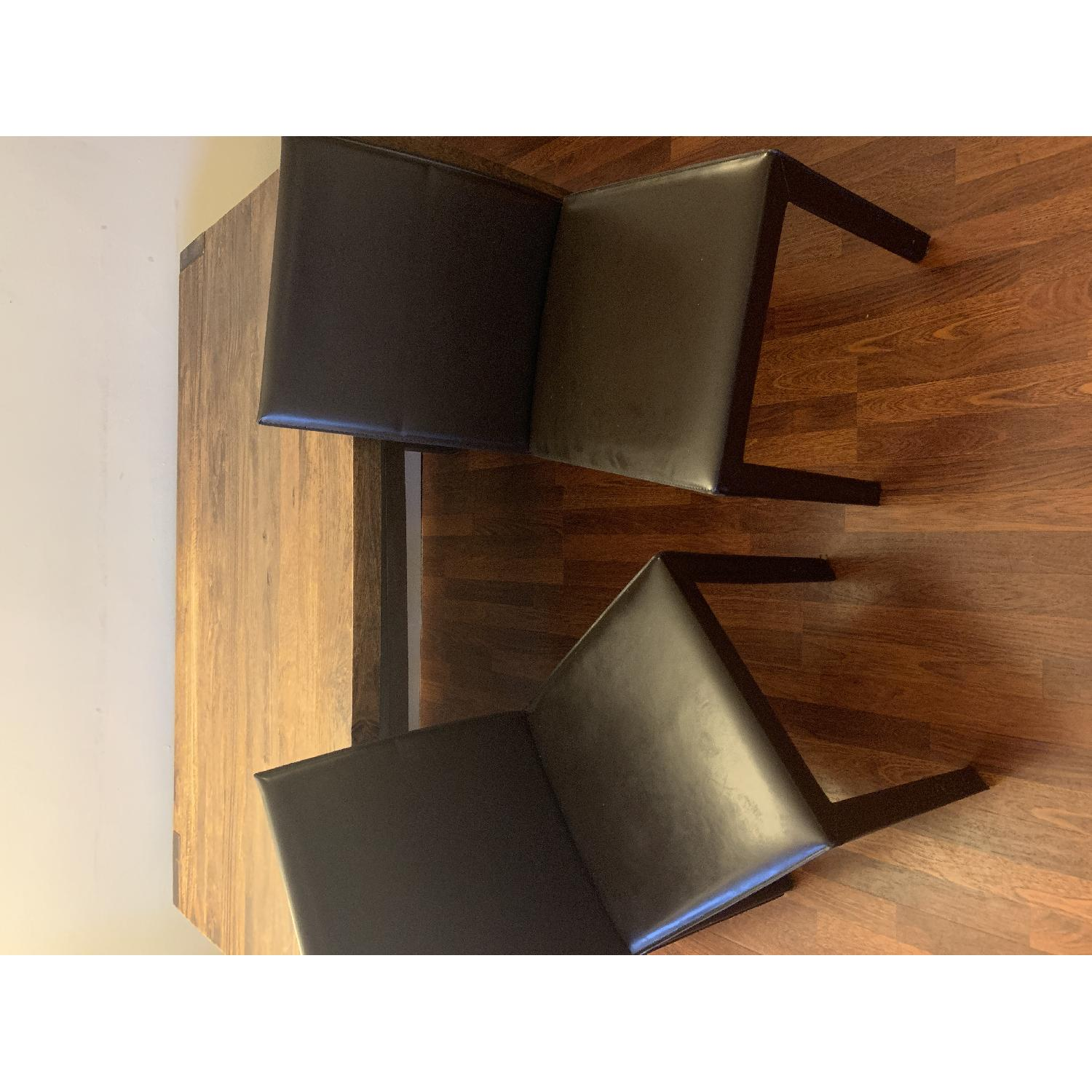 Crate & Barrel Big Sur Table w/ 1 Bench + 2 Leather Chairs-2