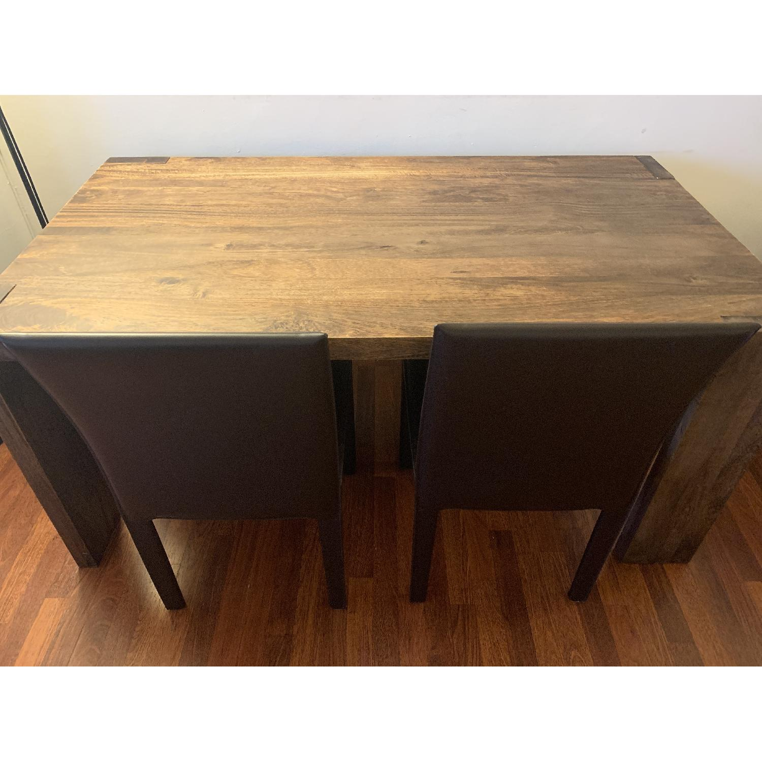 Crate & Barrel Big Sur Table w/ 1 Bench + 2 Leather Chairs-3