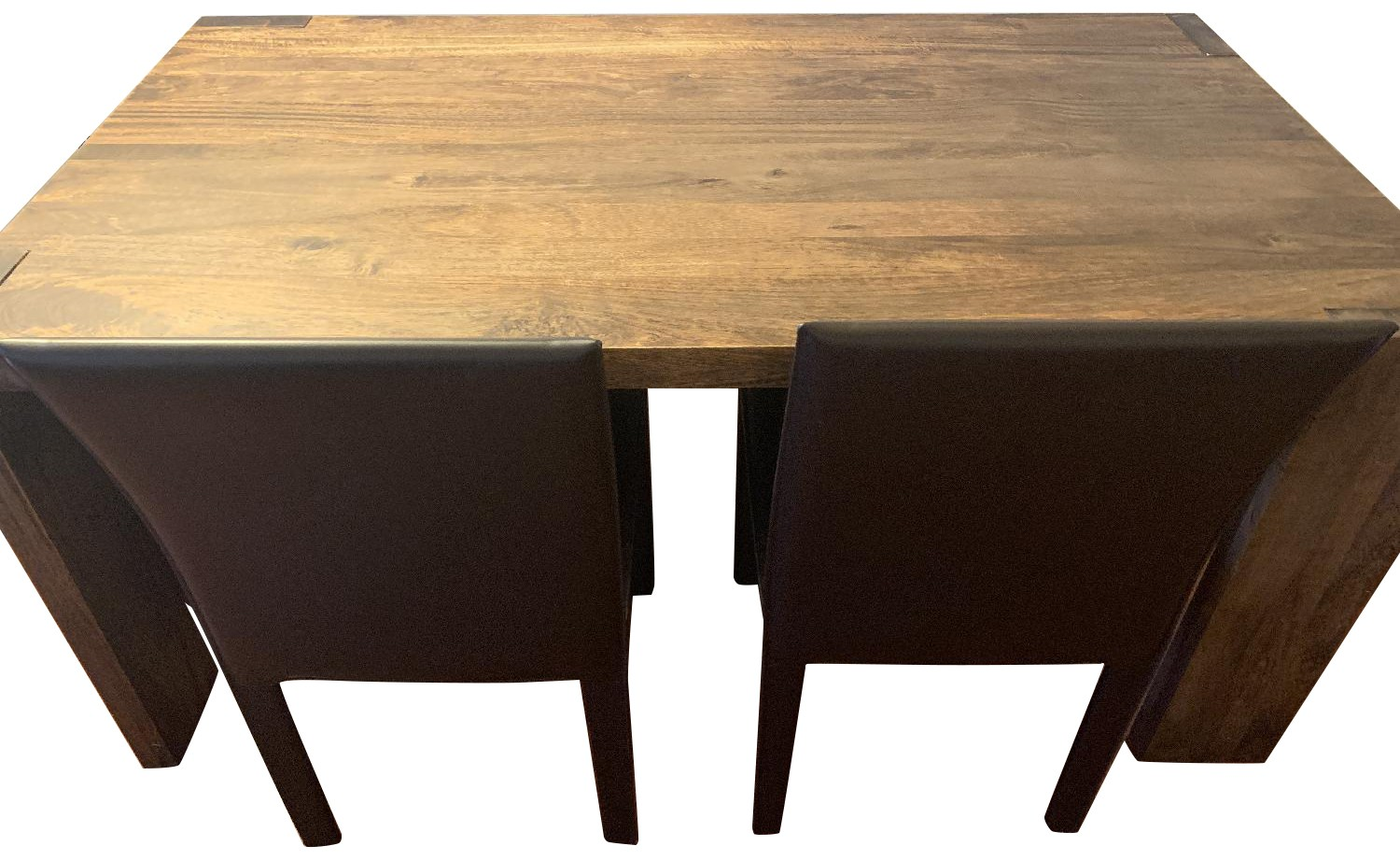 Crate & Barrel Big Sur Table w/ 1 Bench + 2 Leather Chairs