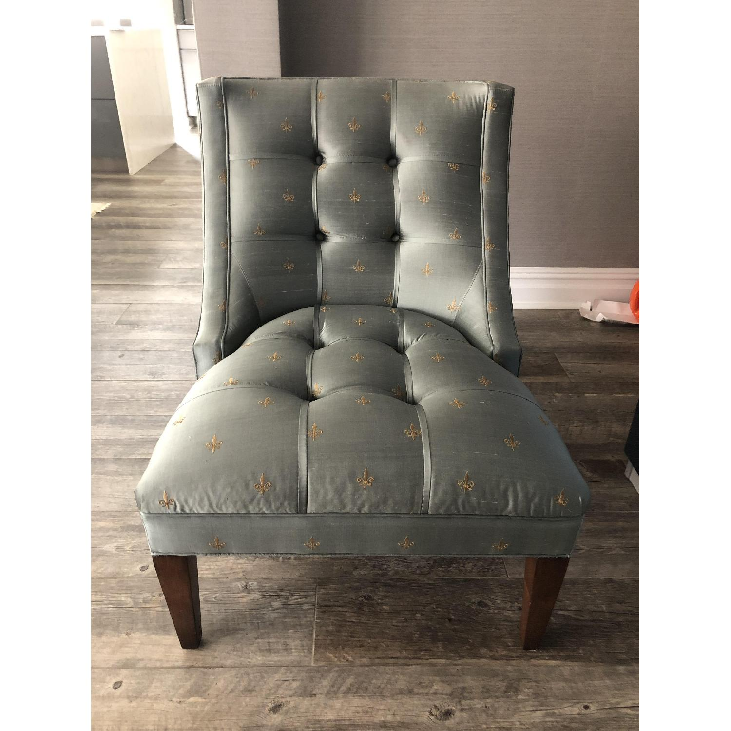 Drexel Heritage Silk & Wood Accent Chair - image-4