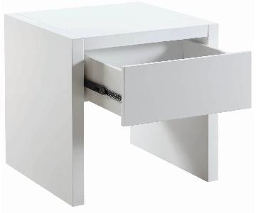 White Lacquer Side Table w/ Storage Drawer