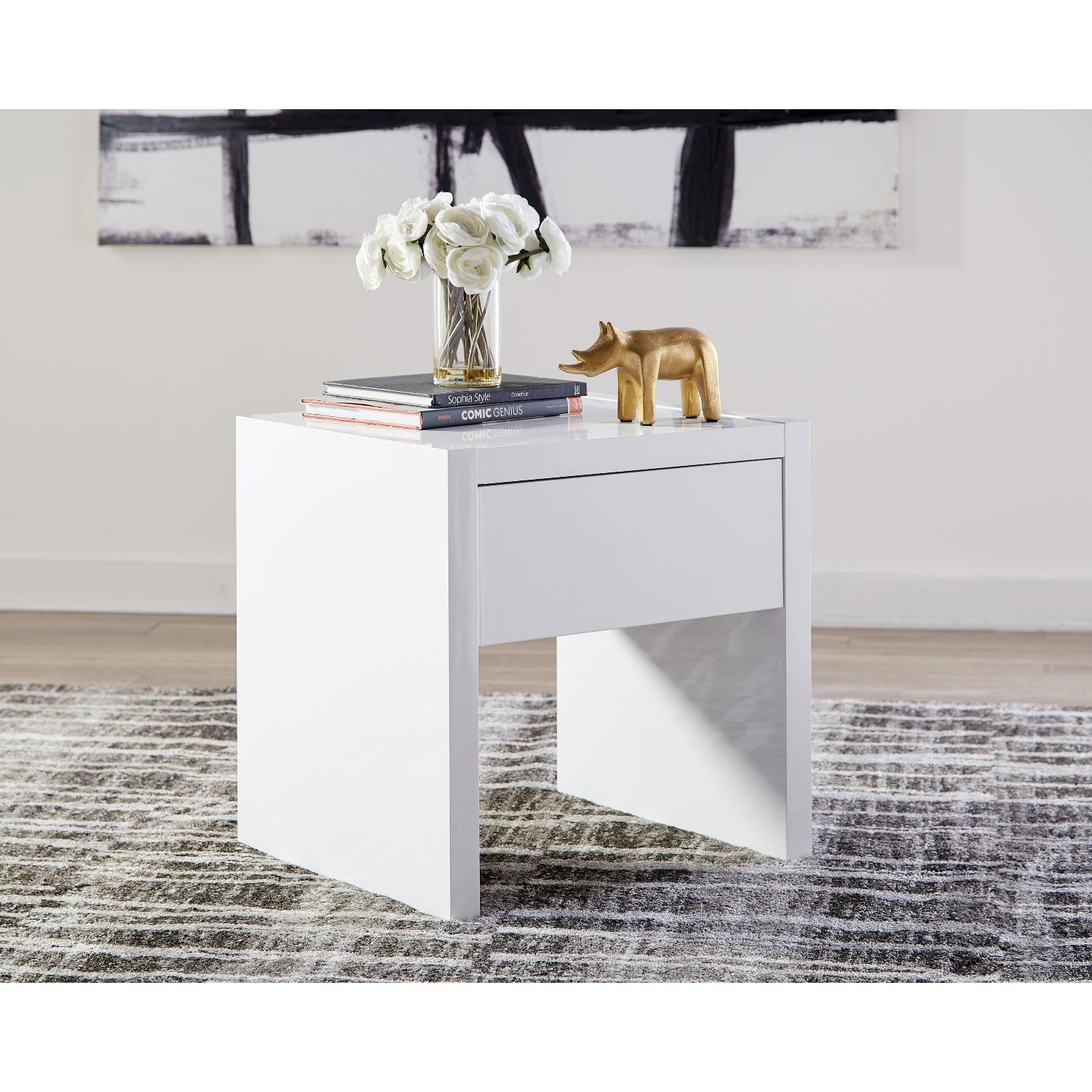 White Lacquer Side Table w/ Storage Drawer-1