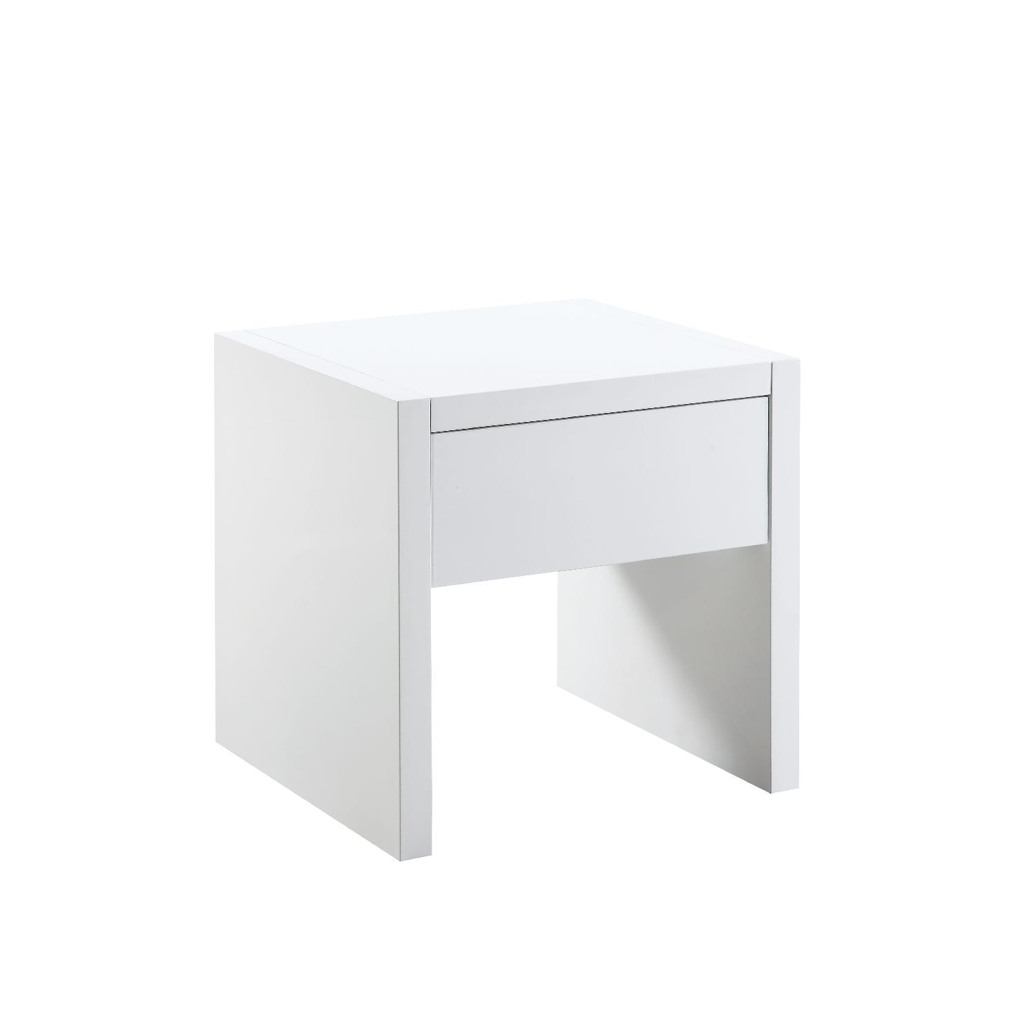White Lacquer Side Table w/ Storage Drawer-4