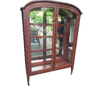 Antique Wood & Glass Curio Cabinet