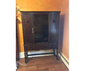 Antique Glass & Wood Armoire