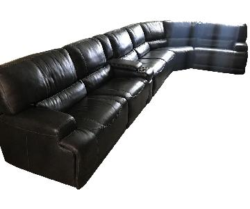 Macy's Warrin Leather Power Reclining Sectional Sofa